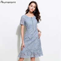 Lace Dress Plus Size Summer 2019 Nes Work Casual Slim Fashion O neck Sexy Hollow Out Blue Dresses Women A line Vintage Vestidos