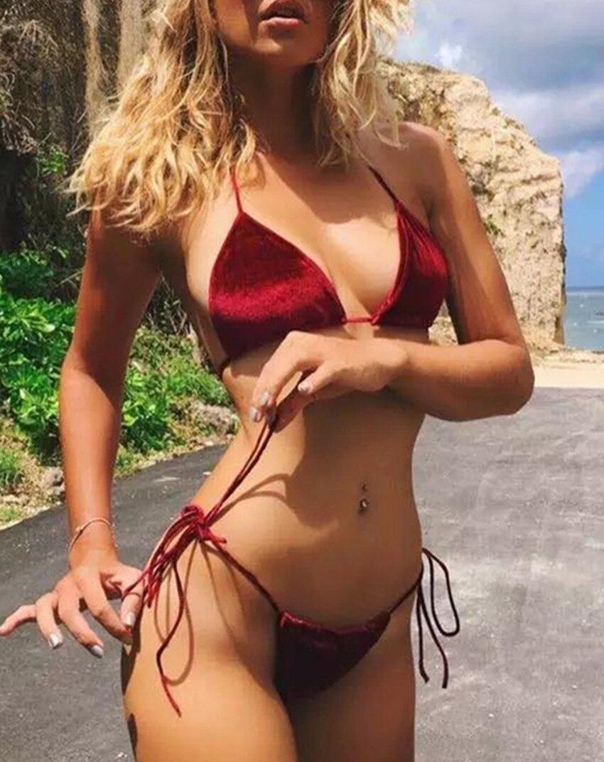 Push Up Bikini Brazīlijas 2017 Sexy Halter Mini Krūšturis - Sporta apģērbs un aksesuāri