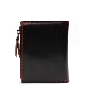 Image 3 - Portefeuille en cuir véritable pour hommes, qualité supérieure, cire dhuile, portefeuille en cuir de vache, porte monnaie pour hommes, fermeture éclair, 100%