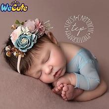 Wecute 3PCS Baby Girls Hair Accessoreis Artificial Flower Headband Elastic Nylon Ribbon Newborn Hairband Birthday Party Gifts