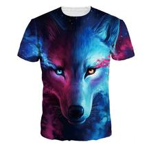 Mens T Shirt Slim Fit Crew Neck T-shirt Men Short Sleeve Shirt Casual tshirt Tee Fashion 3D Digital Wolf Pattern streetwear Tops british style old tree and single wolf pattern t shirt for men m