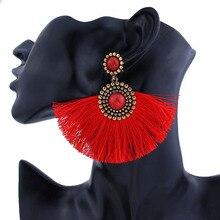 New Bohe Pink Gem Long Tassel Earrings For Women Fashion Bohemian Statement Ethnic Big Fringe Drop Femme Earring 2019 Jewelry