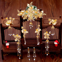 Classical Golden Chinese Hair Jewelry Set Ancient Bridal Wedding Headdress Ornament Tassel Hairpins Women Costume Headwear Gifts