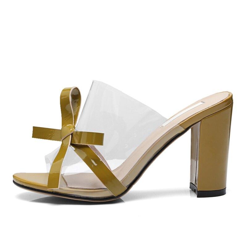 6e4957cd5d6f3d 5 Épais Jaune white Escarpins yellow Dy835 Transparent Soirée Cuir Open  Robe Chaussures De Cm toe Black D'été Boîte 8 Talons ...