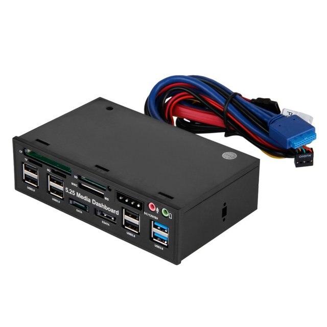 "Multifuntion 5.25"" Media Dashboard Card Reader USB 2.0 USB 3.0 20 pin e-SATA SATA Front Panel 1"