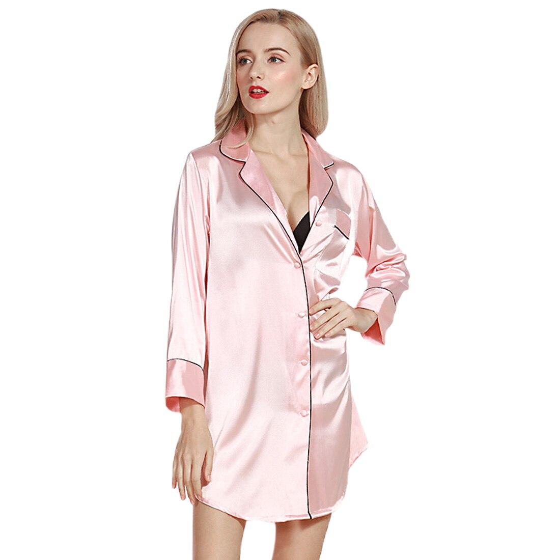 Cearpion Frauen Nachthemd Satin Nachtwäsche Nachthemden Seide Casual Lose Nacht Kleid Sommer Lounge Langarm Kleidung Hause Kleid Damen-nachtwäsche Unterwäsche & Schlafanzug