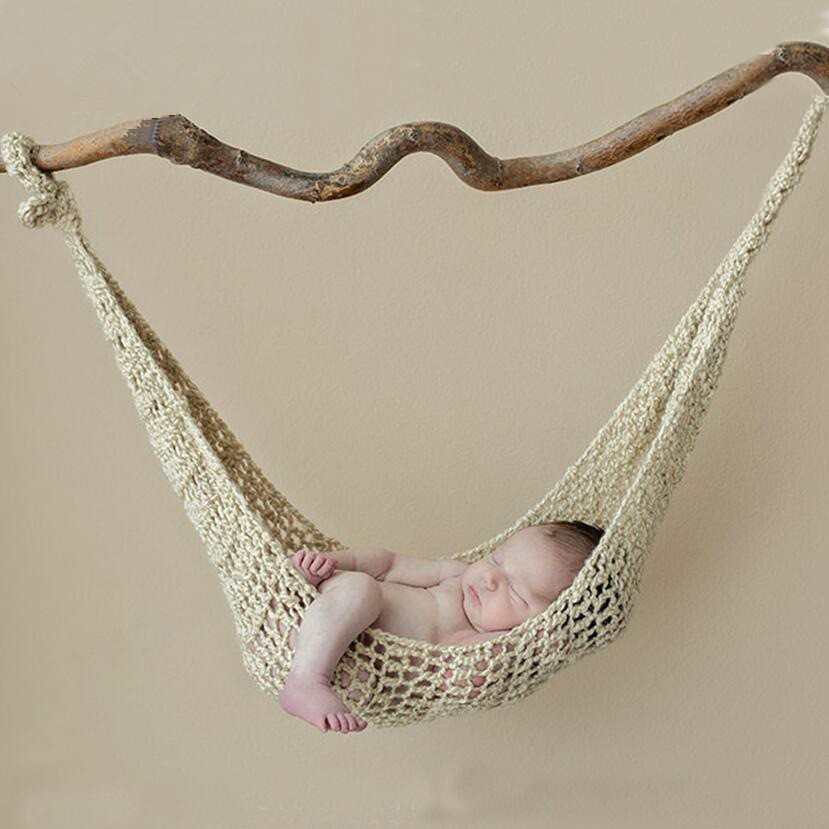 Creative Newborn Photo Props Wool Handmade Knit Hook String Bag Baby Photography Props Hammock Studio Fotografia Accessories
