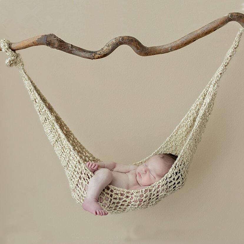 Creative Newborn Photo Props Wool Handmade Knit Hook String Bag Baby Photography Props Hammock Studio Fotografia Accessories