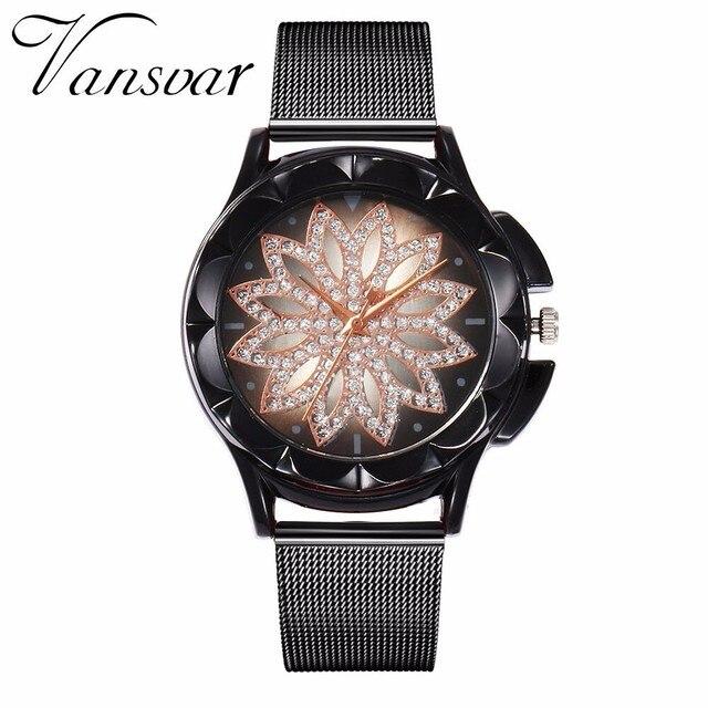 Best Selling Fashion Women Rose Gold Flower Rhinestone Watch Luxury Casual Female Quartz Watch Relogio Feminino Drop Shipping 1