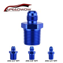SPEEDWOW Blue Aluminum Alloy Male AN6 To 1/2 3/8 1/4NPT Thread Straight Adapter Pipe Fuel Oil Fitting Hose Car Part