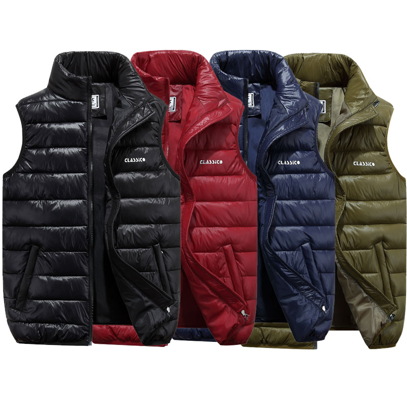 Thefound 2019 New Winter Mens Down Quilted Vest Body Warmer Warm Sleeveless Padded Jacket Coat