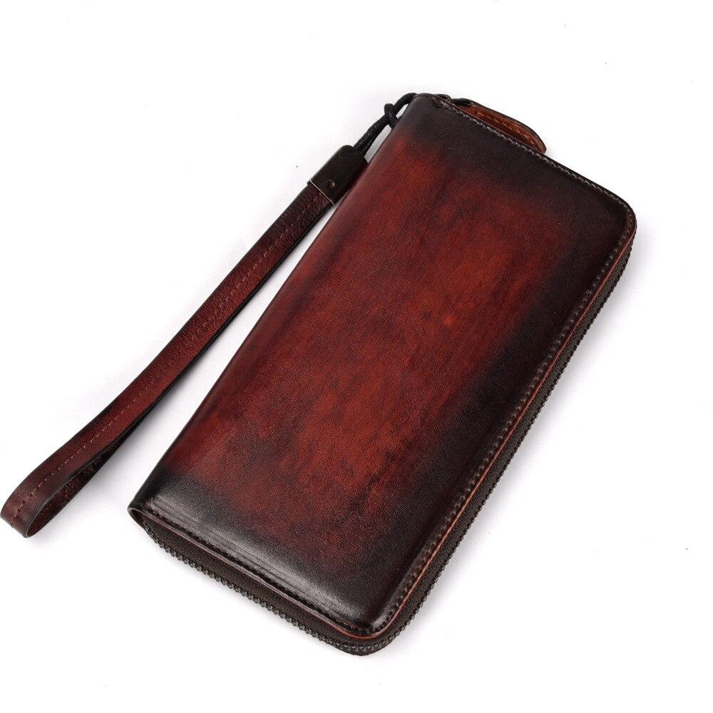 Véritable cuir poignet Long portefeuille ID/cartes de crédit multi-capacité rétro loisirs haute qualité véritable peau de vache femmes pochette pratique Purs