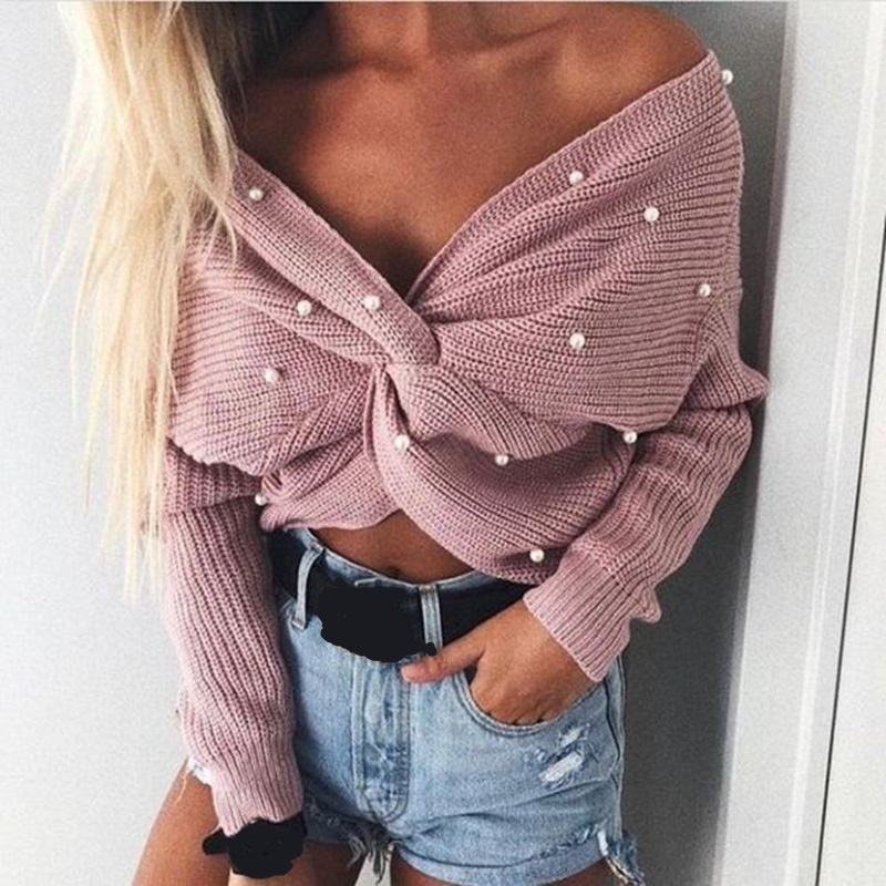 Wipalo Pearl Beading V Neck Twist Sweater Sweet Burgundy Women Pullovers Knit Jumper Long Sleeve Casual Solid Sweater Pull Femme #4