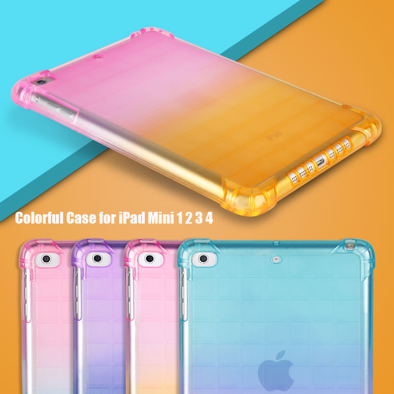 Protective shell TPU Case For Apple iPad Mini <font><b>1</b></font> 2 3 <font><b>4</b></font> Back Gradient Candy Color Cover Slim Soft Silicone Bumper Coque image