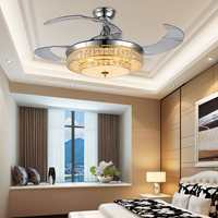 Ceiling Fan LED CRYSTAL Light Decor Ceiling Fan lamp Retractable Blade Invisible fans timing remote control Dining living room