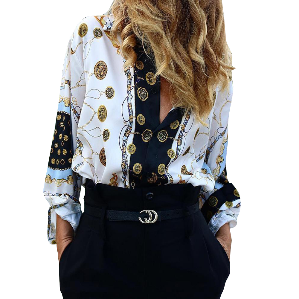 Women Blouses Long Sleeve Turn Down Collar Office Shirt Chiffon Print Blouse Femme Blusas Mujer de Modis Summer Fashion 2019 D30 in Blouses amp Shirts from Women 39 s Clothing