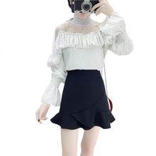 2019 spring pot spring fashion suits new Hong Kong flower lace top stitching chiffon blouse ruffled skirt 2 pcs clothing set flower lace panel blouse