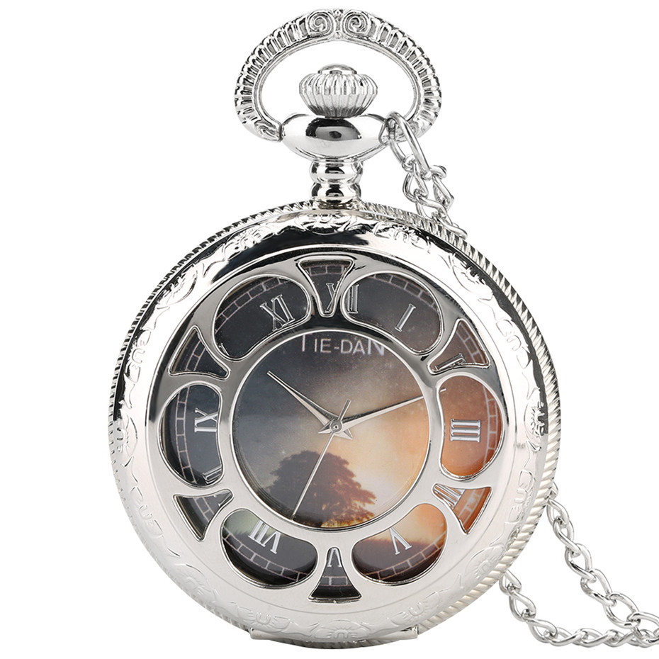 Elegant Silver Color Hollow Flower Pocket Watch Women Necklace Tree Picture Inside Quartz Fob Watches Unisex Clock Gifts 2019