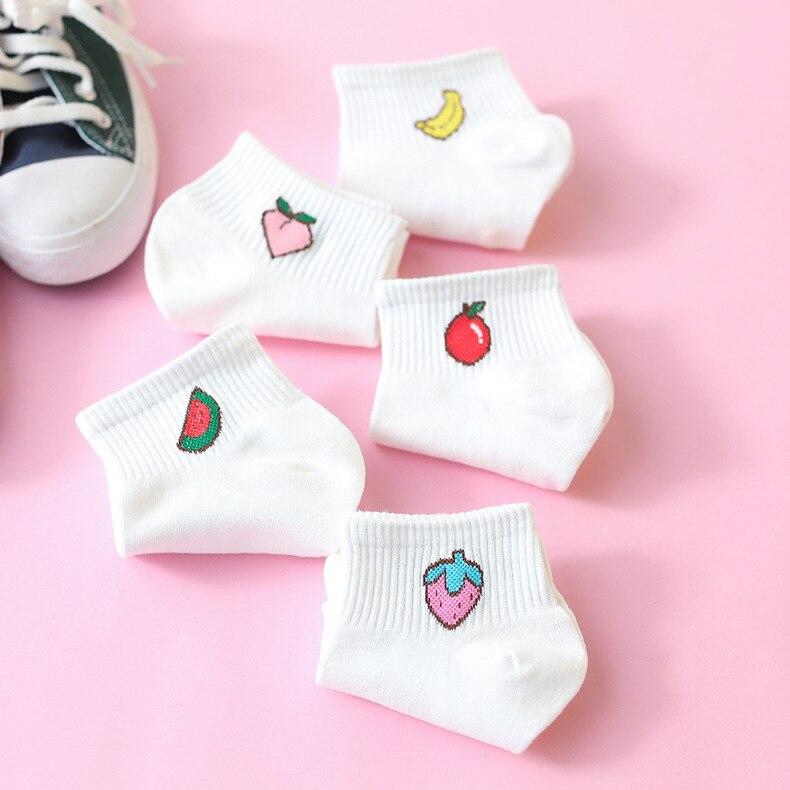Coloré fruit Invisible court femme Sweat été confortable coton fille femmes bateau chaussettes cheville bas femme 1 paire = 2 pièces ws194
