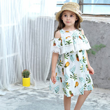 Kids girls dress new summer 2019 cotton side sleeve pineapple baby off-shoulder childrens clothing
