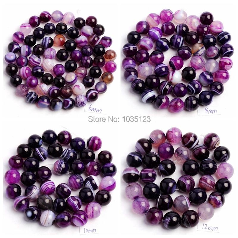 Hochwertige natürliche Achate mit Streifen Lila Runde 4/6/8/10/12/14 mm Edelsteine Lose Perlen 15 Zoll Kreativer Schmuckherstellung wj44