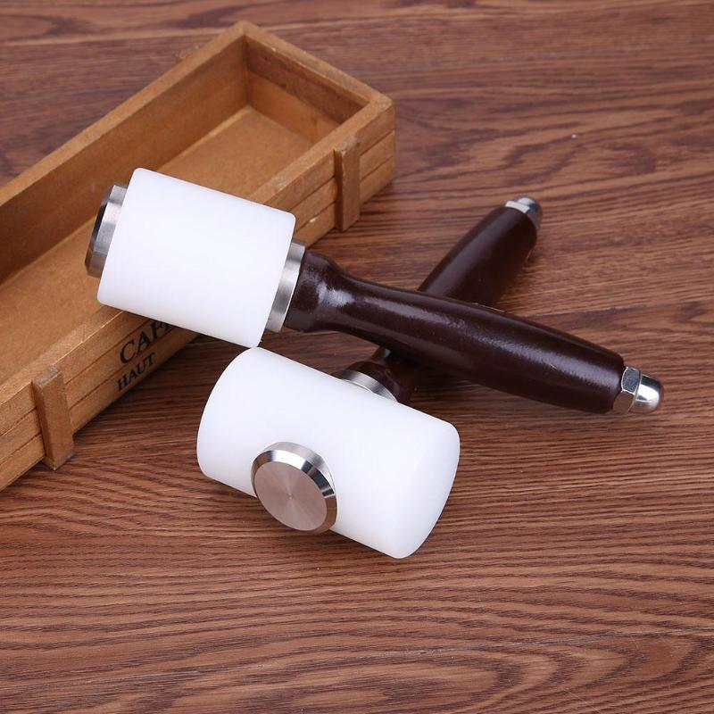 Leather Carving Hammer DIY Craft Cowhide Punch Cutting Nylon Hammer Tool With Wood Handle Leathercraft Carving