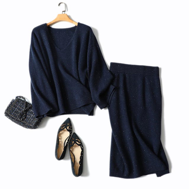 Shuchan Womens Two Piece Sets 2018 Long Sleeve Knit 100% Cashmere Sweater V-neck Pullovers Thick Tops 2 Piece Set Women Skirt
