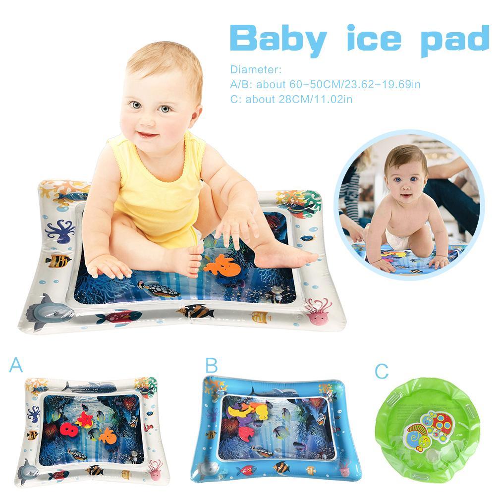 Baby Ice Pad Large Inflatable Prone Pat Tummy Time Premium PVC Plastic Water Cushion Marine Life Mat