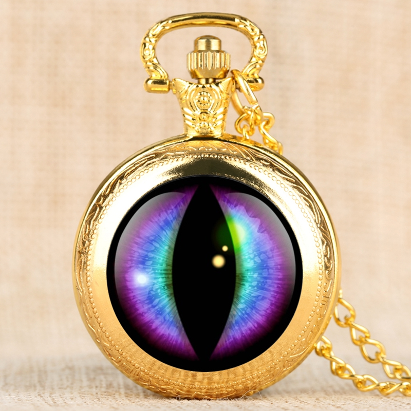Purple Round Face Dragon Eye Song Of Ice And Fire The Game Of Thrones Necklace Quartz Pocket Watch Chain Pendant Collectibles
