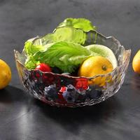 1000ML Gold Inlay Engraving Salad Bowl Creative Clear Large Capacity Fruit Multipurpose Glass Bowl Mixing Bowl For Home Party