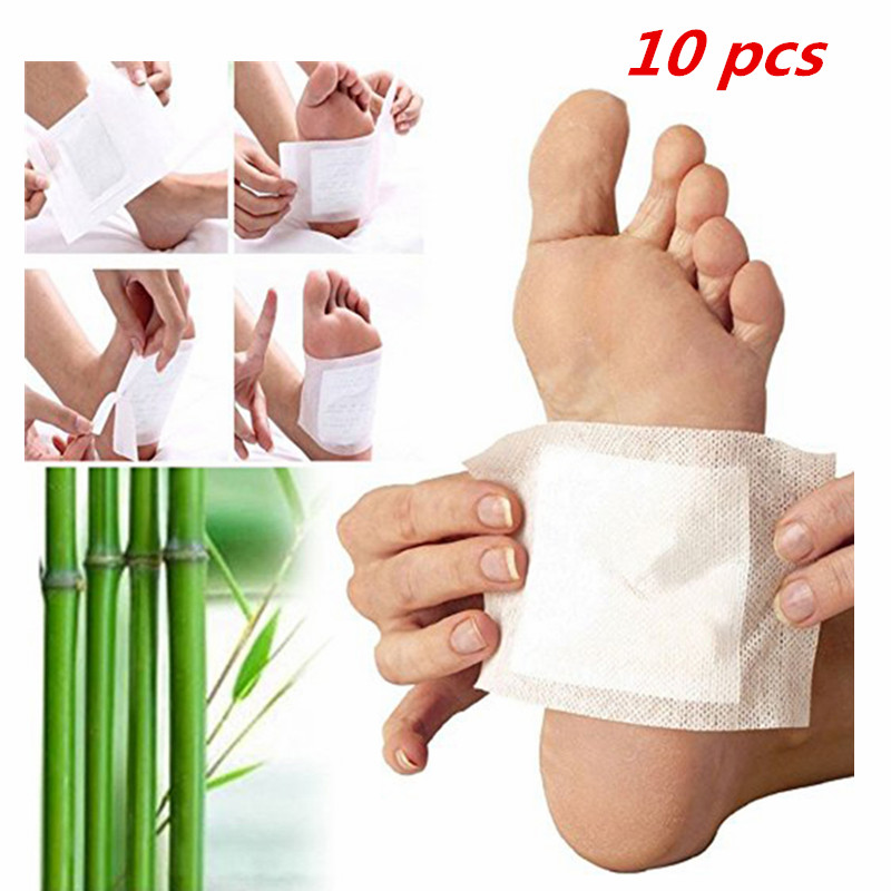 10pcs Detox Foot Pads Bamboo Vinegar Body Feet Care Cleansing Relieve Fatigue Foot Patches TSLM2