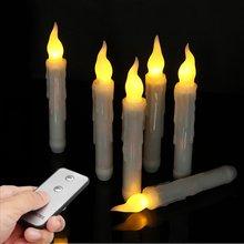 6 шт. 17 см беспламенный на батарейках теплый белый светодиодный на день рождения Пасху вечерние свадебные свечи ночные огни дистанционное управление домашний декор