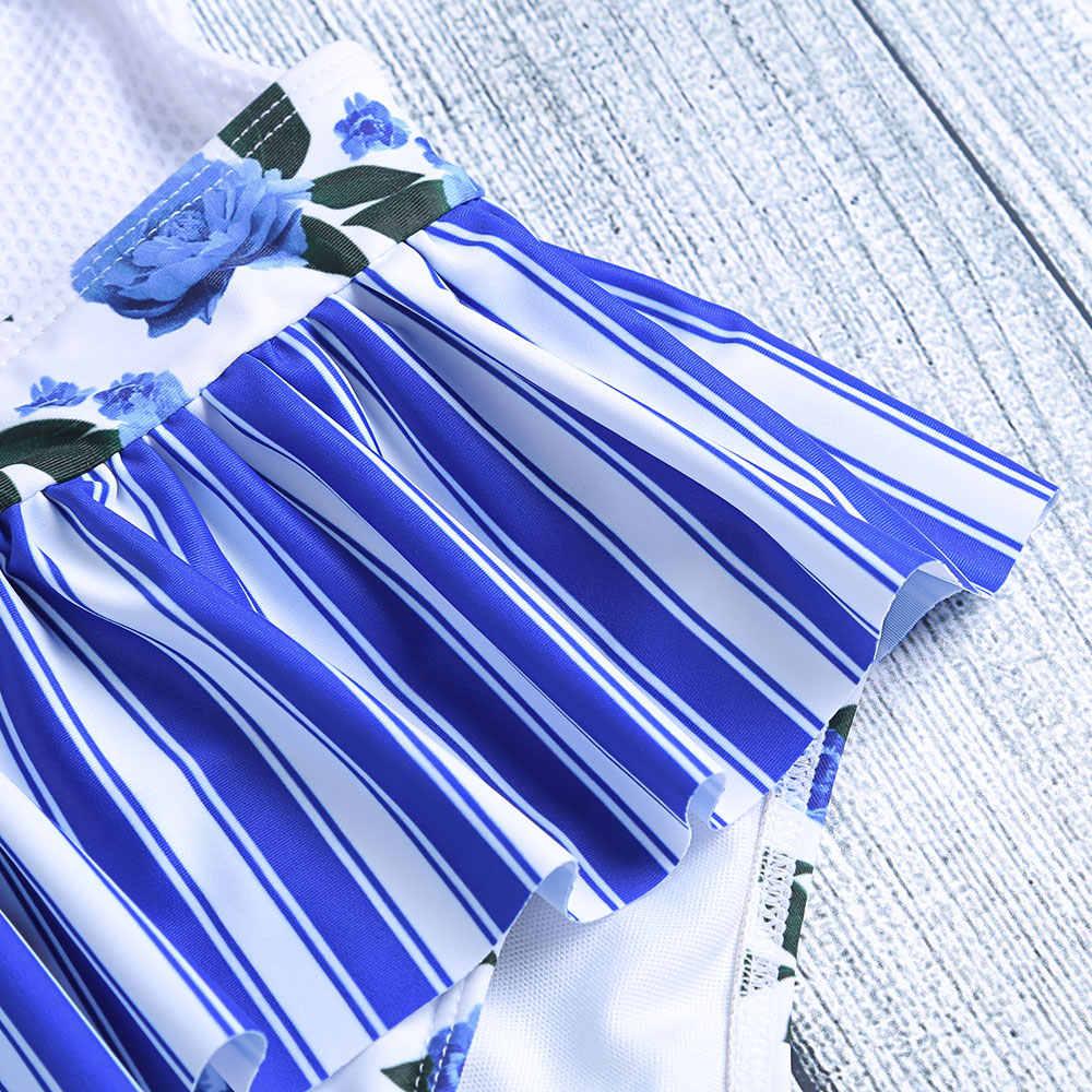 Belleziva One Piece Swimsuit Silang Sexy Backless Floral Cetak Ruffle Wanita Terjun Leher Baju Baju Renang Monokinis