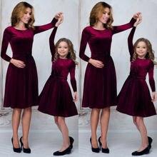 Mother Daughter Matching Velvet Dresses
