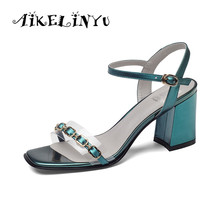 AIKELINYU Big Size 36-43 Lady Sandals 2019 New Summer Fashion Cowhide Buckle Strap Leather 7cm Square Heel Casual Shoes Woman