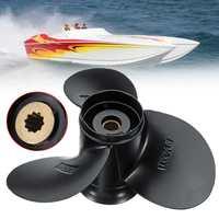 Audew Boat Outboard Propeller 58100 93743 019 9 1/4 x 11 Aluminium Alloy for Suzuki 9.9 15HP 3 Blades 10 Spline Tooths Black