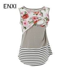 ENXI 2019 Maternity Tees Nursing Tops Striped Sleeveless Lace T-shirt Breastfeeding Clothes For Feeding Clothing Summer