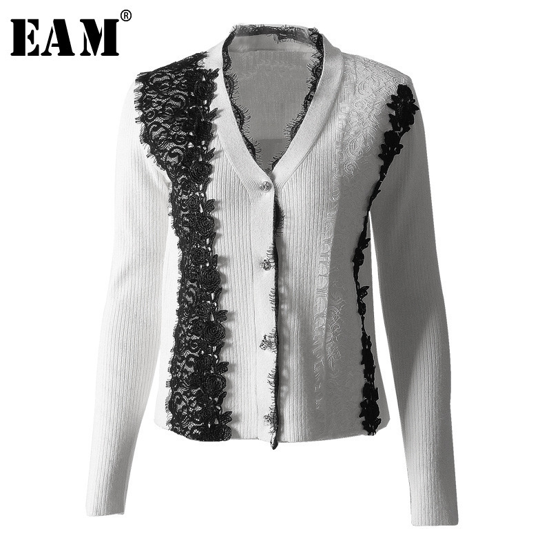EAM 2019 New Spring V collar Long Sleeve Black Lace Temperament Hit Color Stitch Loose
