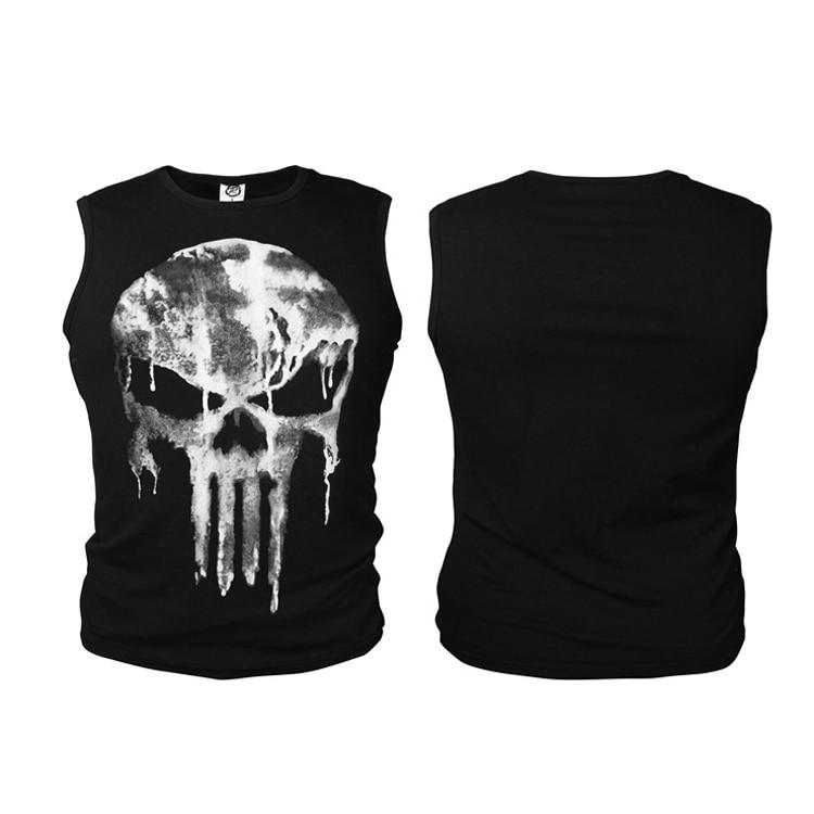 Men Summer The Punisher Anti-hero Skull Vests Fitness Bodying Building   Tank     Tops