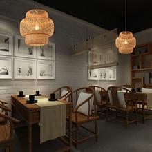 Vintage LED Wood Bamboo Pendant Lamp Shade Lights Lighting Kitchen Fixtures Suspension  Plafon Luminaria Hanging Lam