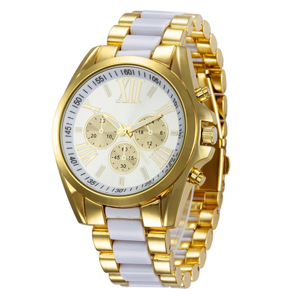Business Elegant Quartz Watch Fashion Women Roman Numeral Gold Color Women Wrist Bracelet Watches