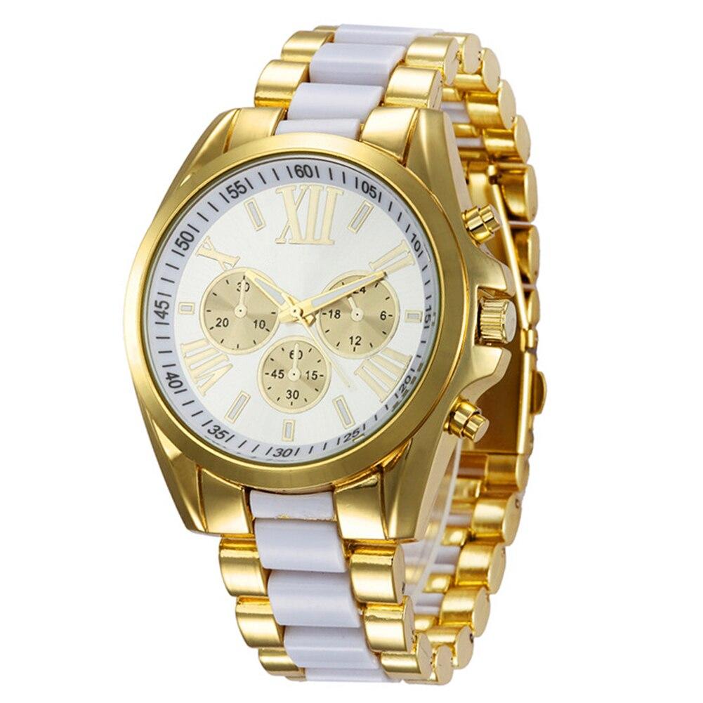 Business Elegant Quartz Watch Fashion Women Roman Numeral Gold Color Women Wrist Bracelet Watches