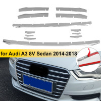 12pcs Stainless Steel Front Bumper Air Grille Grill Decor Cover Trim Car Front Fog Lamp Strips For Audi A3 8v Sedan 2014 2016
