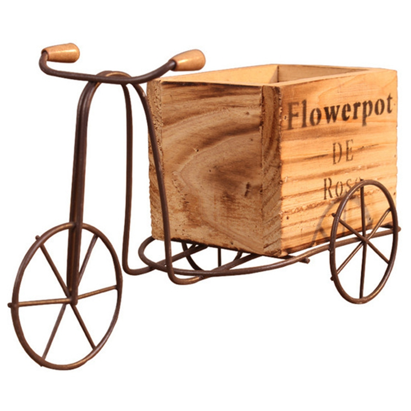 Wooden Tricycle Model Flower Pot Wrought Iron Bicycle Flower Stand Indoor Storage Rack Home Garden Desktop Decor Crafts Gifts Pot Trays     - title=