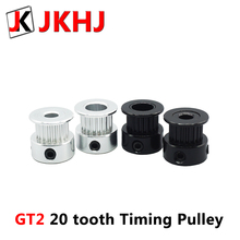 JKHJ 3D Printer Parts GT2 Pulley 20 tooth Bore 5mm 8mm 2gt teeth Timing Gear Alumium 6mm  synchronous belt pulley 2PCS цена и фото