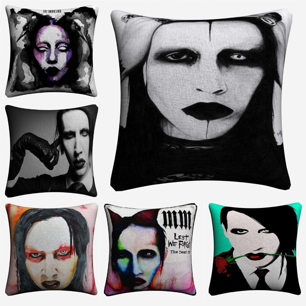 Marilyn Manson Clássico Foto Decorativa Cotton Linen Capa de Almofada 45x45 cm Fronha Para Sofá Cadeira Casa Decoração almofada