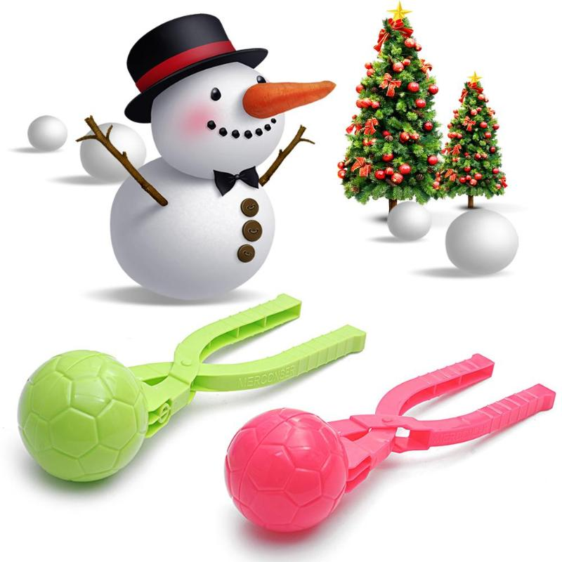 1PC 3D Soccer Snowball Maker Mold Kids Winter Outdoor Sport Snow-balls Sand Making Mould Toy Snowballs Fight Tool Random Color