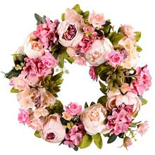 Corona de flores artificiales, corona de peonía, corona de puerta de 16 pulgadas, corona de primavera, corona redonda para la puerta delantera, boda, hogar