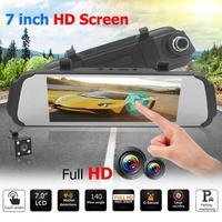 7 Inch Touch Screen Dual Lens Car Rearview Mirror DVR Camera Night Vision Dash Cam Video Recorder three axis G sensor 140 Degree