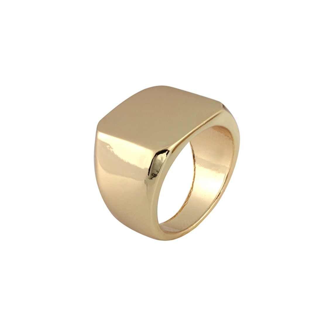 Fashion Rings Square Big Width Signet Ring Simple Black Gold Silver Square Band Finger Rings Punk Men Ring Jewelry Size 6-12